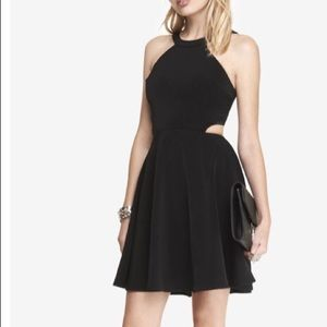 Black High Neck Cut-out Fit And Flare Dress